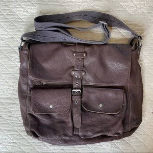 French Connection Leather Messenger Bag